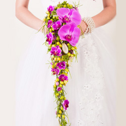 Cascading Orchid Wedding Bouquet with Pink Phalaenopsis Orchids