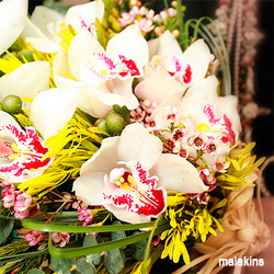 Cymbidium White Orchid Wedding Bouquet
