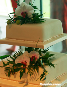 2 tier Orchid Wedding Cake with White Phalaenopsis Orchids and Foliage
