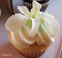 Cupcake with white dendrobium orchid