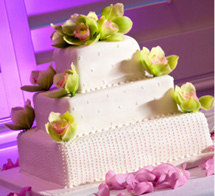 3 tier wedding cake with green cymbidium orchids