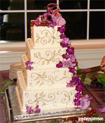 4 Tier Wedding Cake with Purple dendrobium Orchids